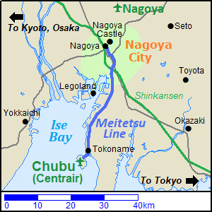 Map of the railway route from Nagoya to Chubu International Airport (Centrair)