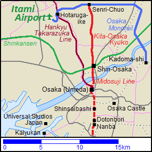 Map of the railway routes from Osaka to Itami Airport