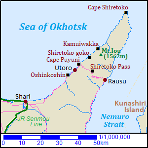 Map of Shiretoko Peninsula