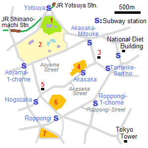 Map of Akasaka and Roppongi
