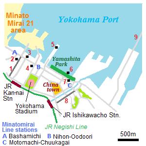Kannai area Yokohama city Kanagawa Prefecture Japan travel guide