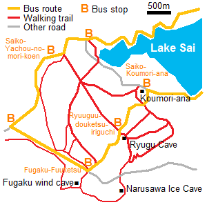 Map of Aokigahara area