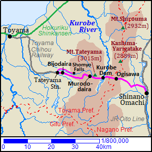 Map of Tateyama Kurobe Alpine Route
