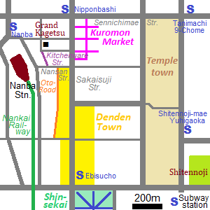 Map around Nanba in Osaka