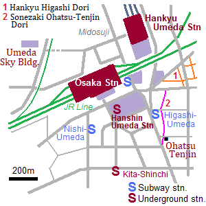 Map of Umeda area