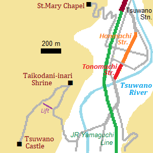 Map of Tsuwano town
