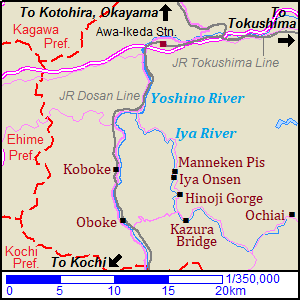 Map of Oboke, Koboke, Iya