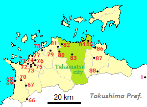 Map of temples for the pilgrimage in Kagawa Prefecture