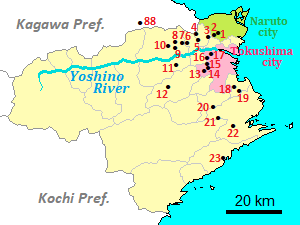 Map of temples for the pilgrimage in Tokushima Prefecture