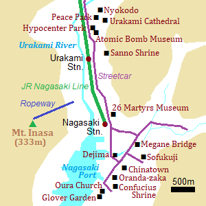 Map of Nagasaki city