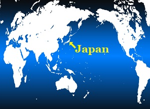 The world map pointing the position of Japan on the earth