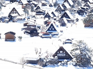 Snowy Shirakawago in winter