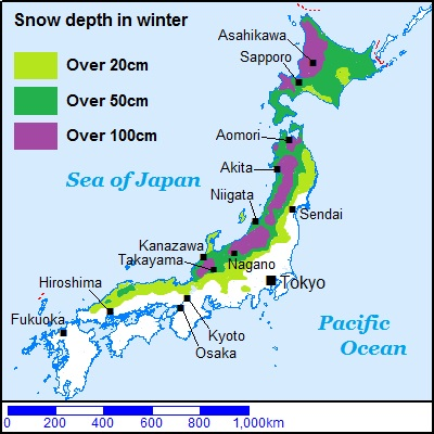 Japan map of Snow depth in winter
