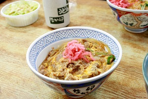 Donburi, a bowl dish of rice topped with any cooked food