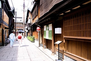 Wooden house street of Gion in Kyoto