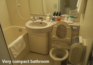 Very compact bathroom in City Hotel