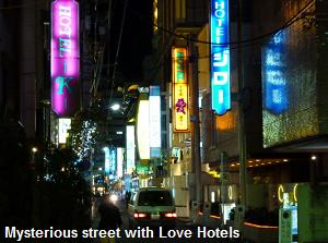 Mysterious street with Love Hotel