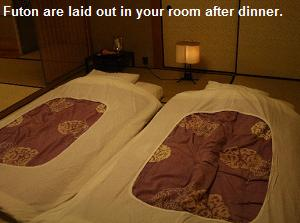 Futon are laid out in your room after dinner.