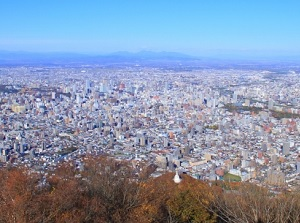 Scenery of Sapporo city from the the top of Mt.Moiwa