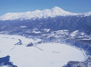 Utoro and Shiretoko mountains in winter