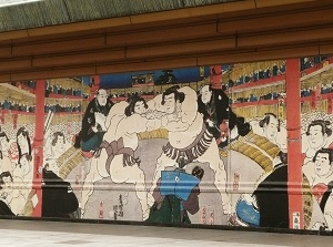 Ukiyoe Painting of Sumo in Edo Period