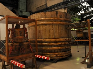 Old big barrel in Higeta shoyu factory