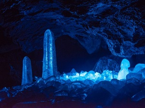 Ice pillars in Narusawa Ice Cave