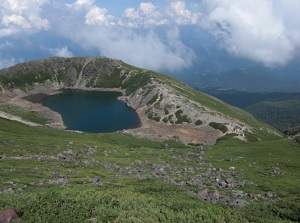 Sannoike pond around the top of Mount Ontake