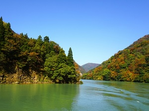 Shogawa Gorge in autumn