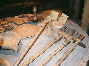 Excavated tools in the museum