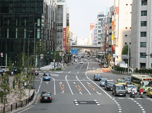 Street to the east from Osaka station