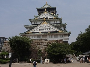 Stone wall and moat of Osaka Castle