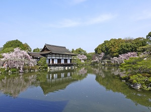 Garden of Heian Shrine in spring