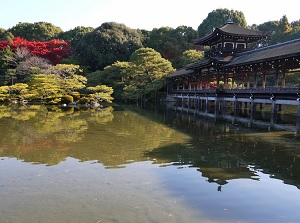 Garden of Heian Shrine in autumn