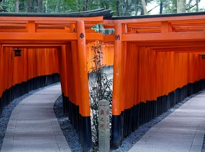 Entrance of Senbon Torii. Take the right route.