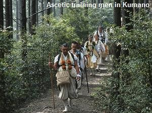 Ascetic training men in Kumano Kodo