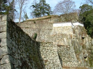Strong stone wall of Bitchu-Matsuyama Castle