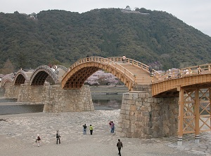 Kintai Bridge and Iwakuni Castle on the top of mountain