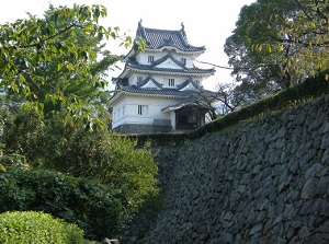 Castle tower and stone wall of Uwajima Castle