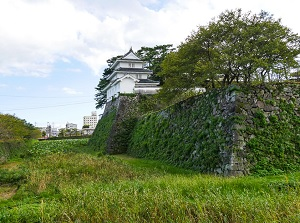 Stone wall and moat of Shimabara Castle