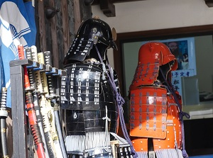 Samurai swords and armors displaying in Shimabara Castle