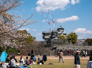 Castle tower of Kumamoto Castle under repair in spring of 2019